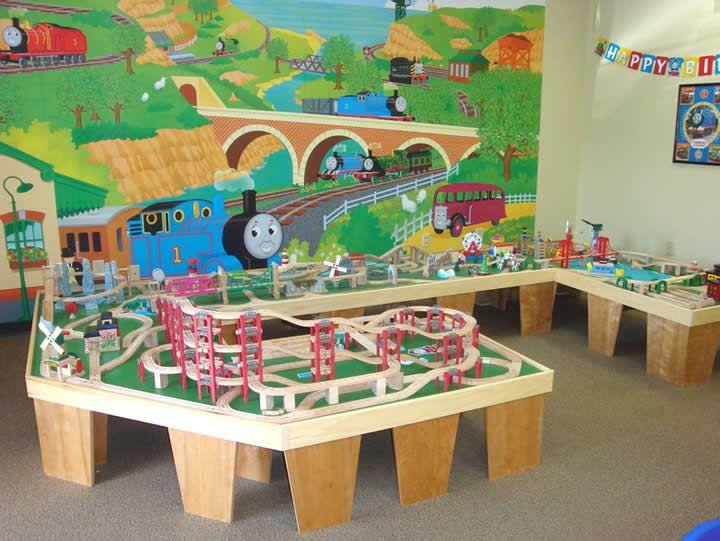 My boys would love a wooden train setup like this one...Oh DAD & My boys would love a wooden train setup like this one...Oh DAD ...