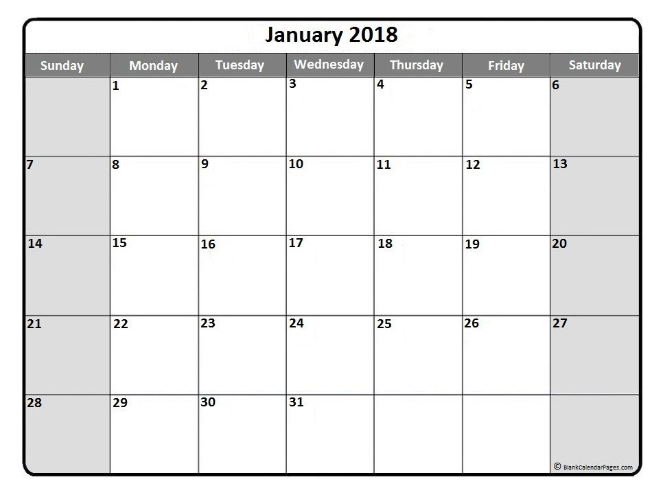January  Monthly Calendar Printout  Printable Calendars