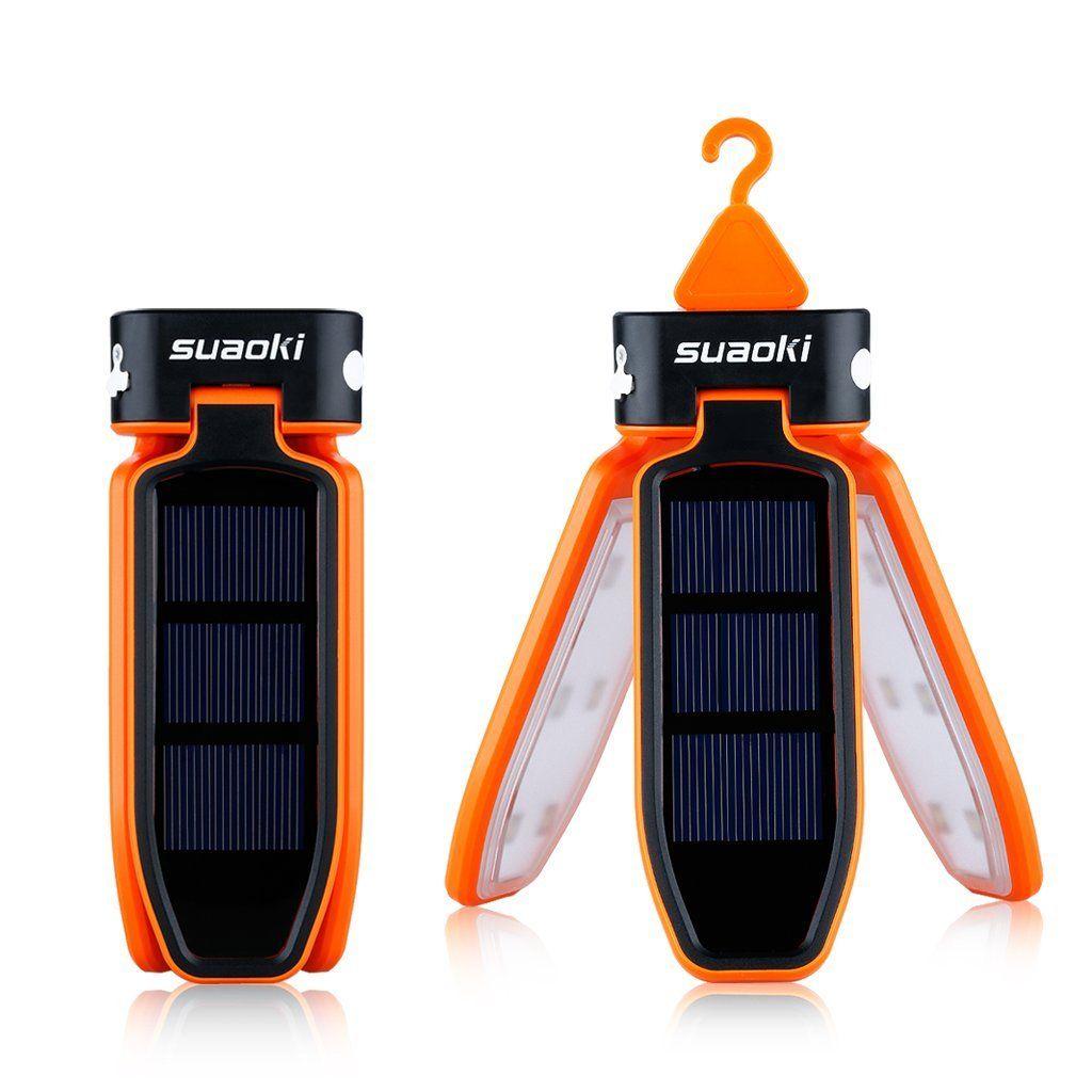 Suaoki - Mini linterna LED portátil y colgable para camping y viaje (carga por USB o panel solar, impermeable y plegable), Naranja: Amazon.es: Electrónica