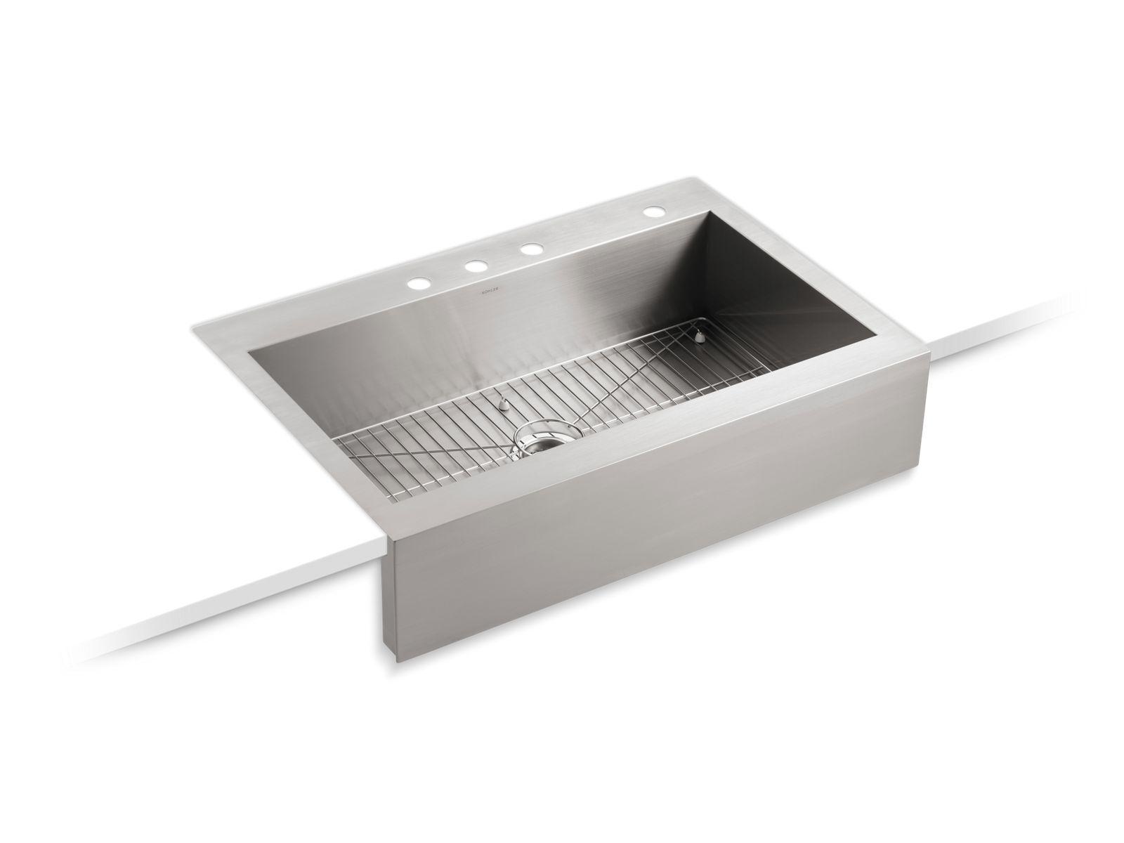 K 3942 4 Vault Apron Front Top Mount Sink With Four Faucet Holes