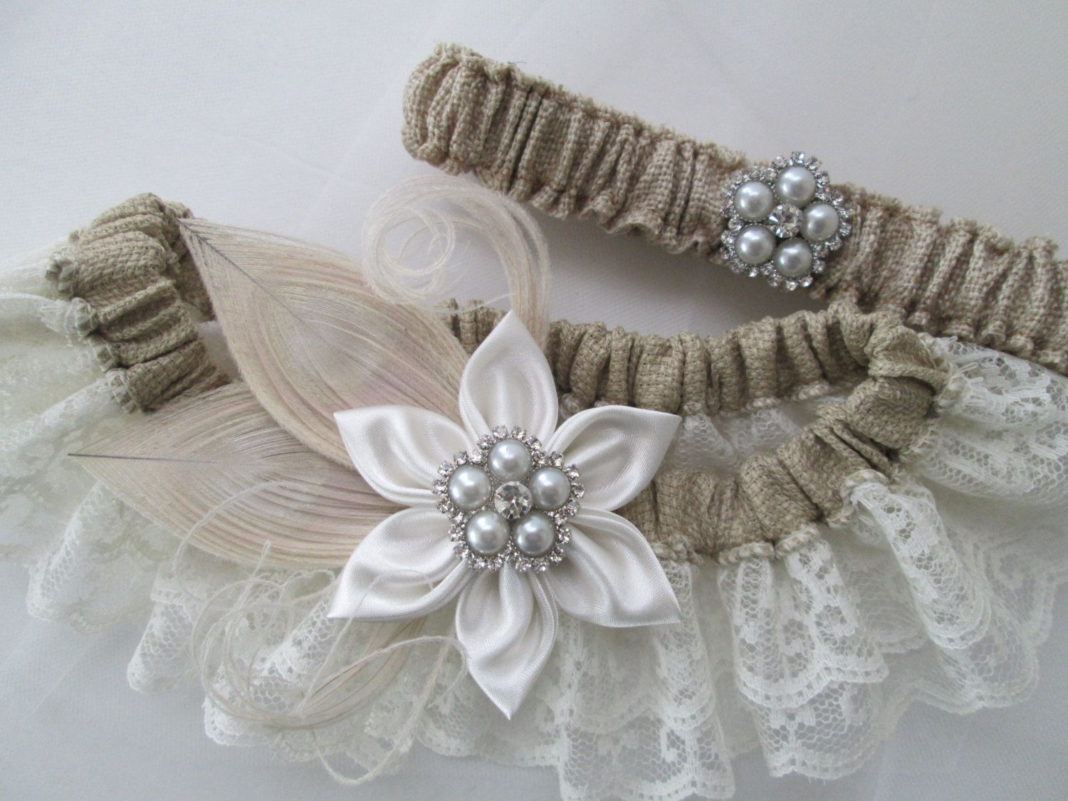 BURLAP Wedding Garter Set, Ivory Lace Garters, Peacock Garter, Rustic Barnyard Countryside IVORY Wedding Garters, Kanzashi Flower, Pearls by GibsonGirlGarters on Etsy