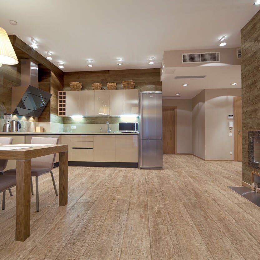 Texas Roble Wood Effect Floor Tiles In Modern Open Plan Kitchen Wood Effect Tiles Wood Effect Floor Tiles Hallmark Floors