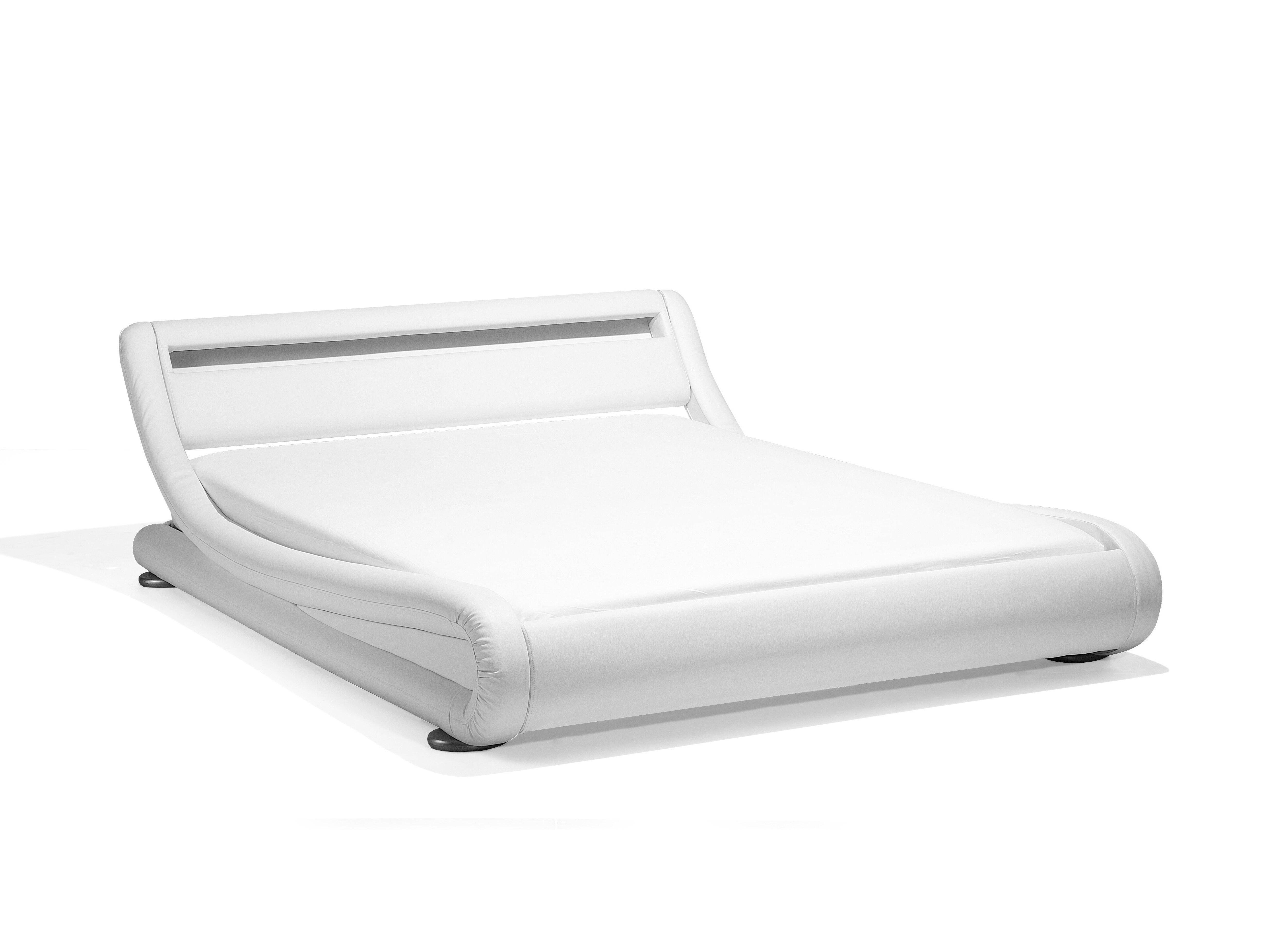 Photo of Letto in pelle sintetica bianca con illuminazione LED 140×200 cm AVIGNON