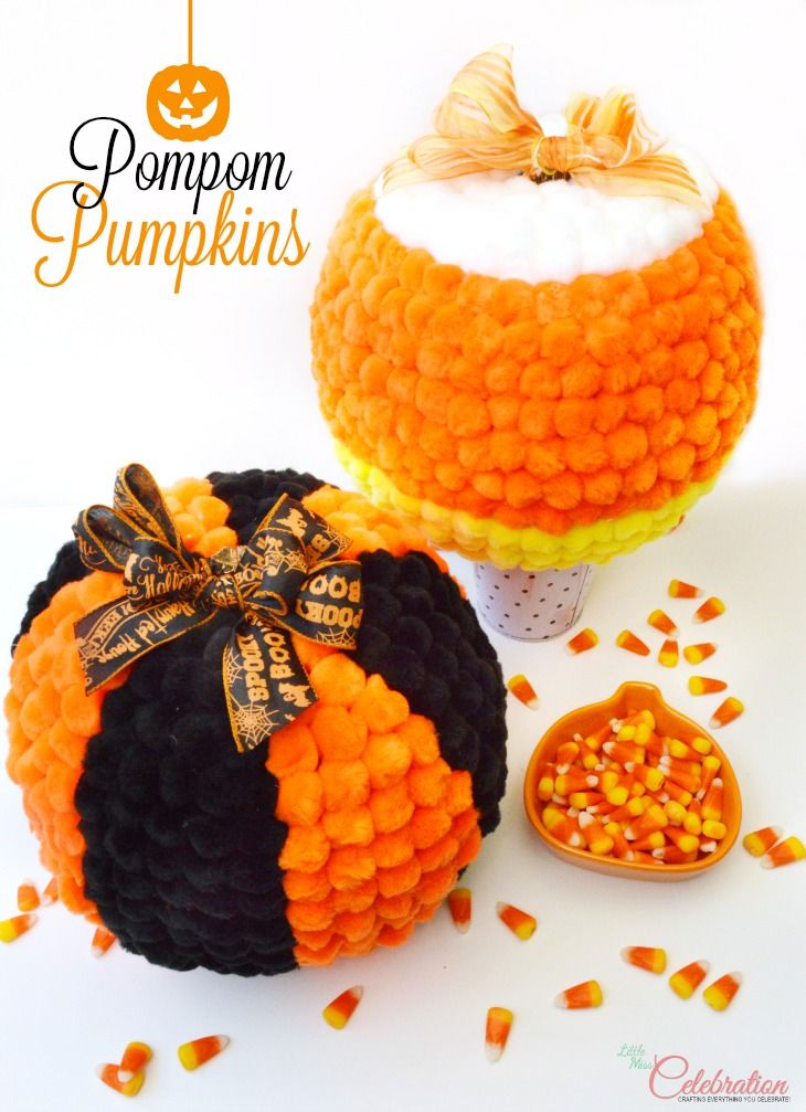 Don't just carve this year - pom your pumpkins! Soft & fuzzy Pompom Pumpkins are super easy and fun to make! at littlemisscelebration.com