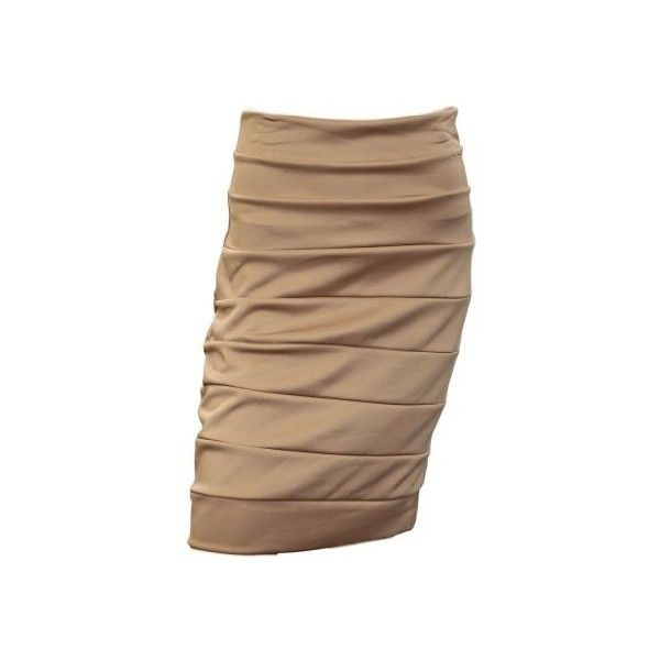 Plus Size Bandage Pull On Pencil Skirt Beige | your dream skirts and... via Polyvore
