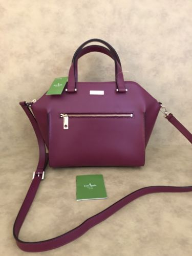 e3eb17886ad8 NWT KATE SPADE RED PLUM  SAVANNAH PARLIAMENT SQUARE  LEATHER SATCHEL  398