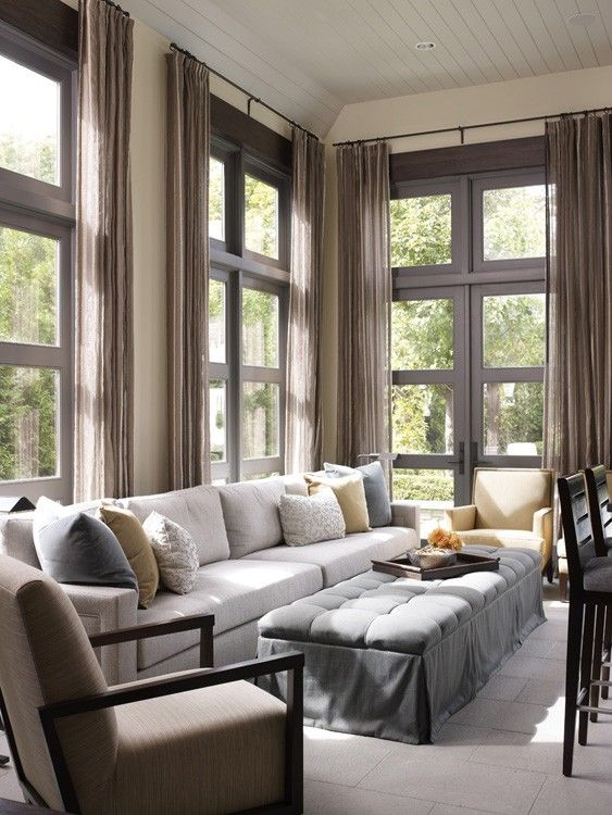As A Bridge Between Indoors And Outdoors Floor To Ceiling Windows Introduce Light Views And A Contemporary Touch To Homes O Home Home And Living Family Room