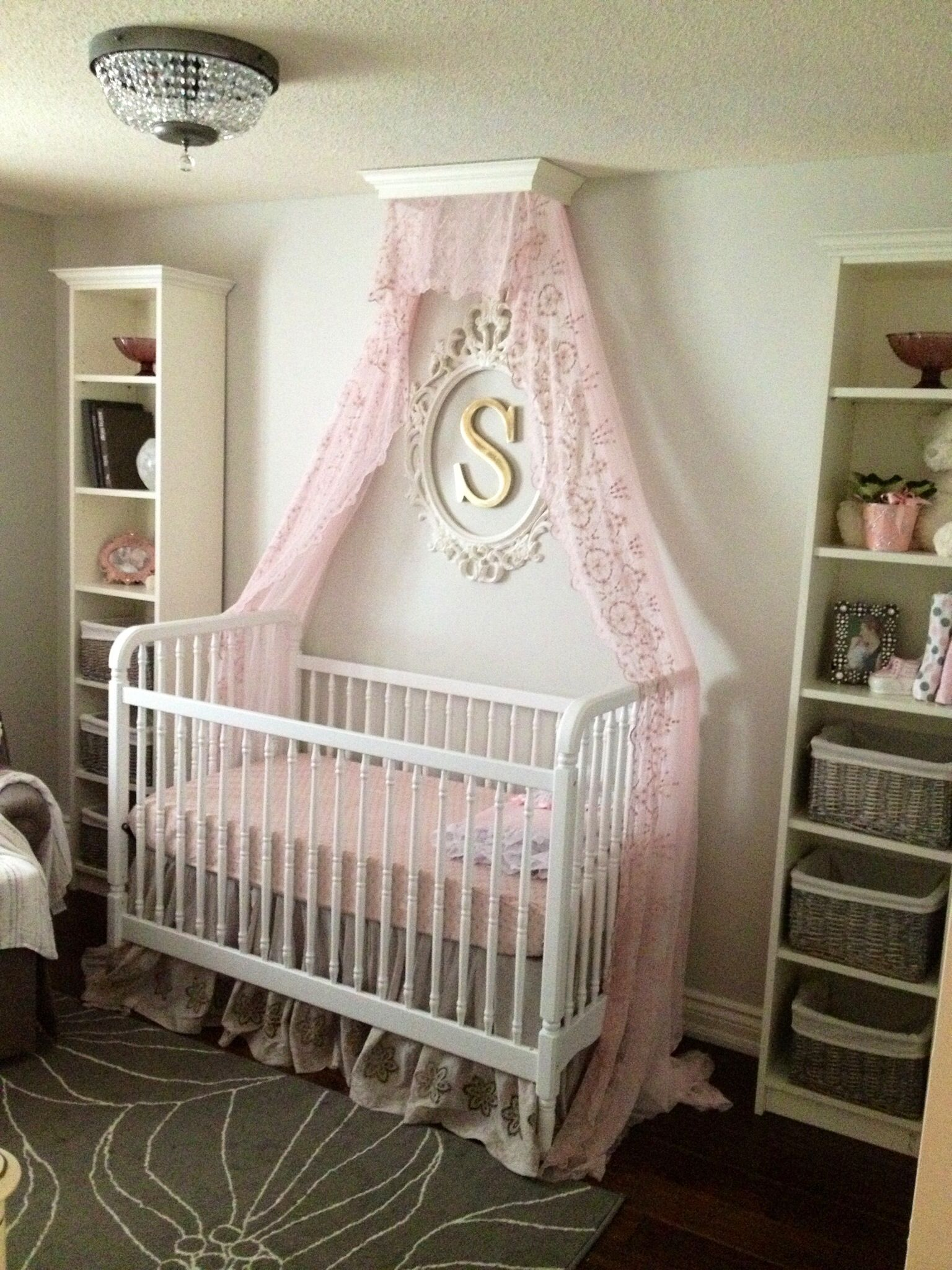 Pink and gray nursery with crib canopy for baby girl for Drapes over crib