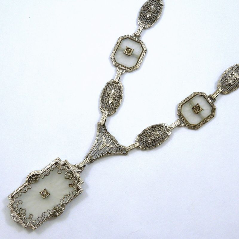 Vintage Sterling Silver Necklace with Cut Crystal & Accent Diamonds. - $750