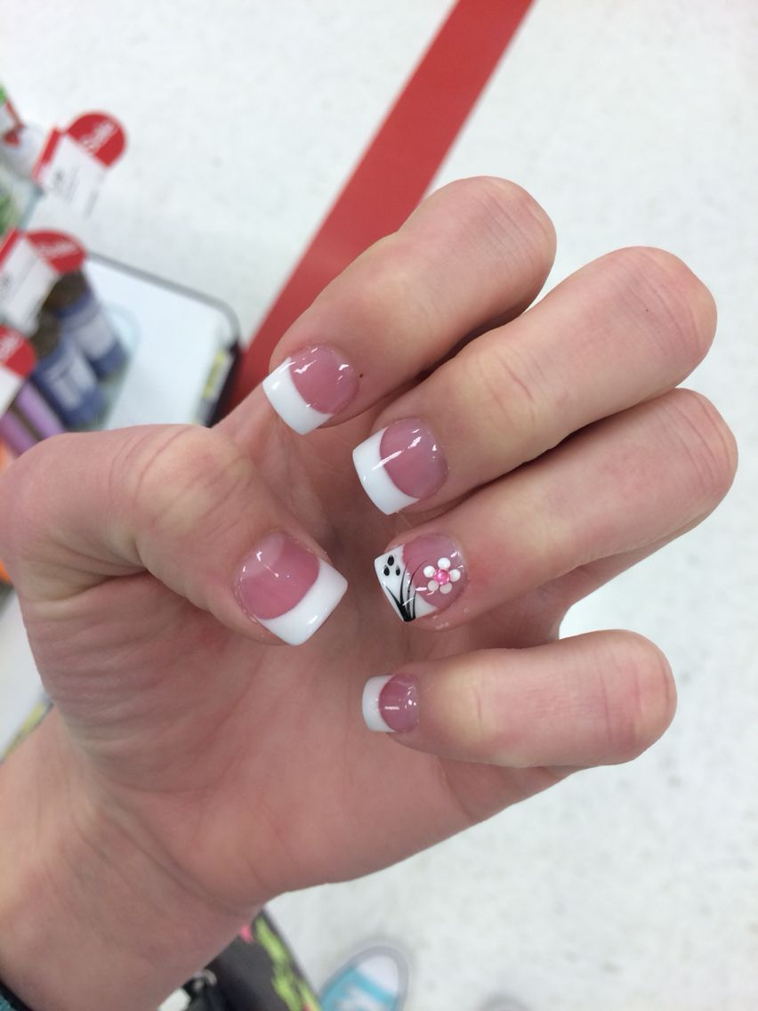 french tip acrylic with flower