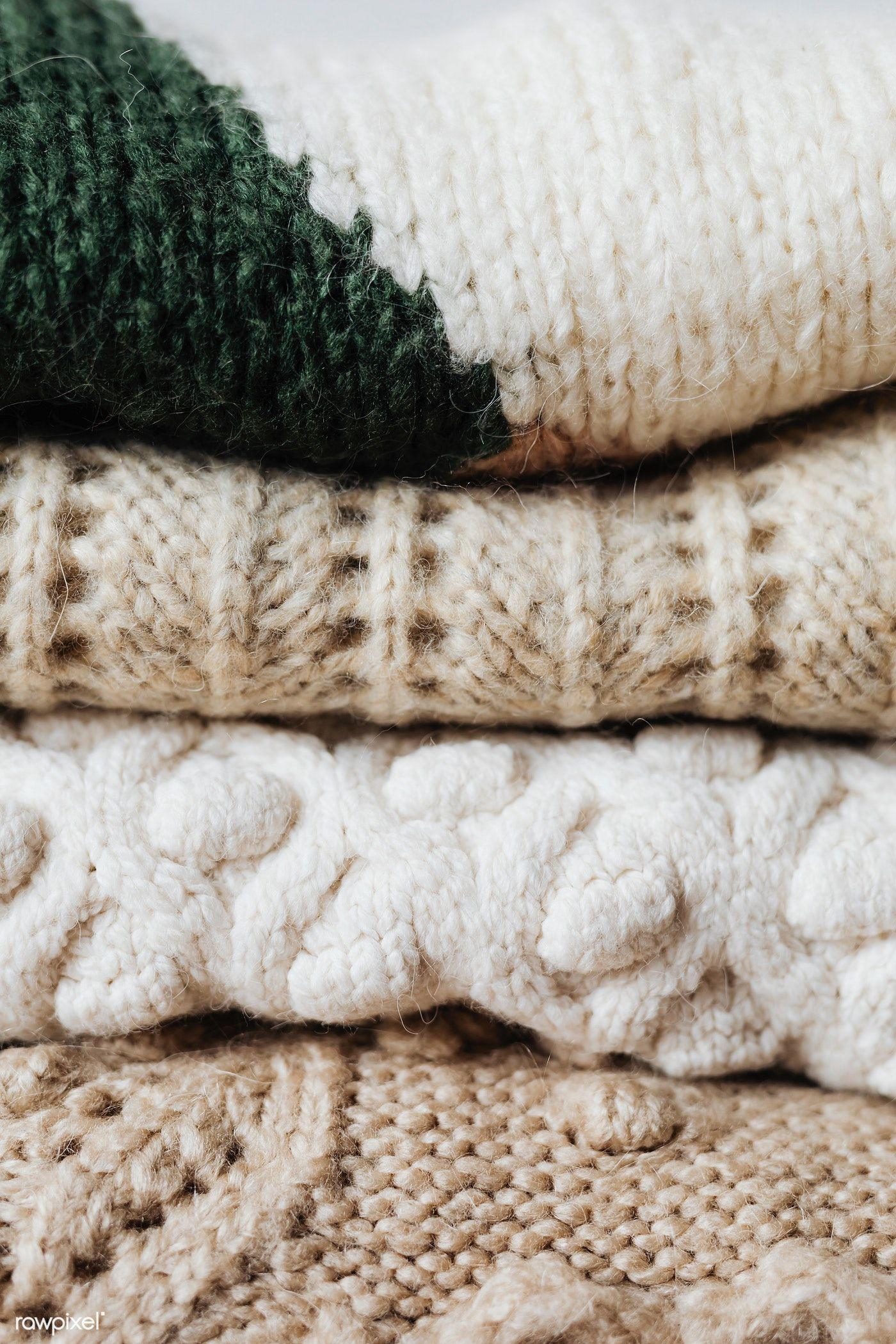 Folded winter sweaters close up free image by rawpixel