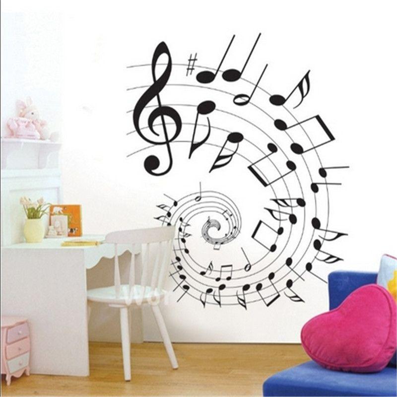 A la moda sticker wall art elegante de música de dibujos animados nota extraíble diy arte