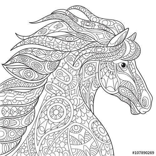 Zentangle horse coloring page  caballos fotos  Pinterest