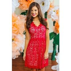 Under Candlelight Dress-Red Dress Red - $49.00 Maybe