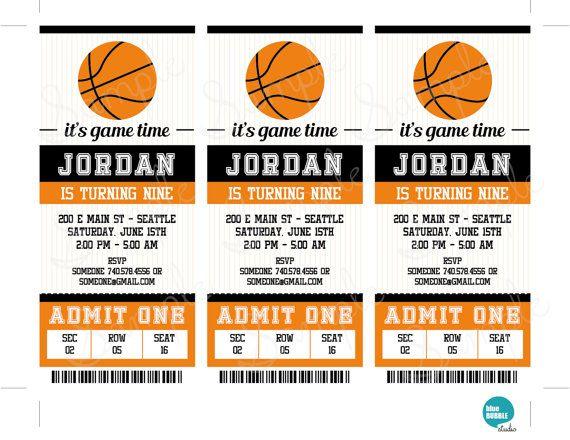basketball ticket invitation template basketball birthday