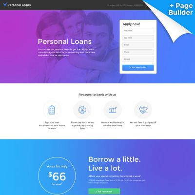 Personal Loans Responsive Landing Page Template With Builder