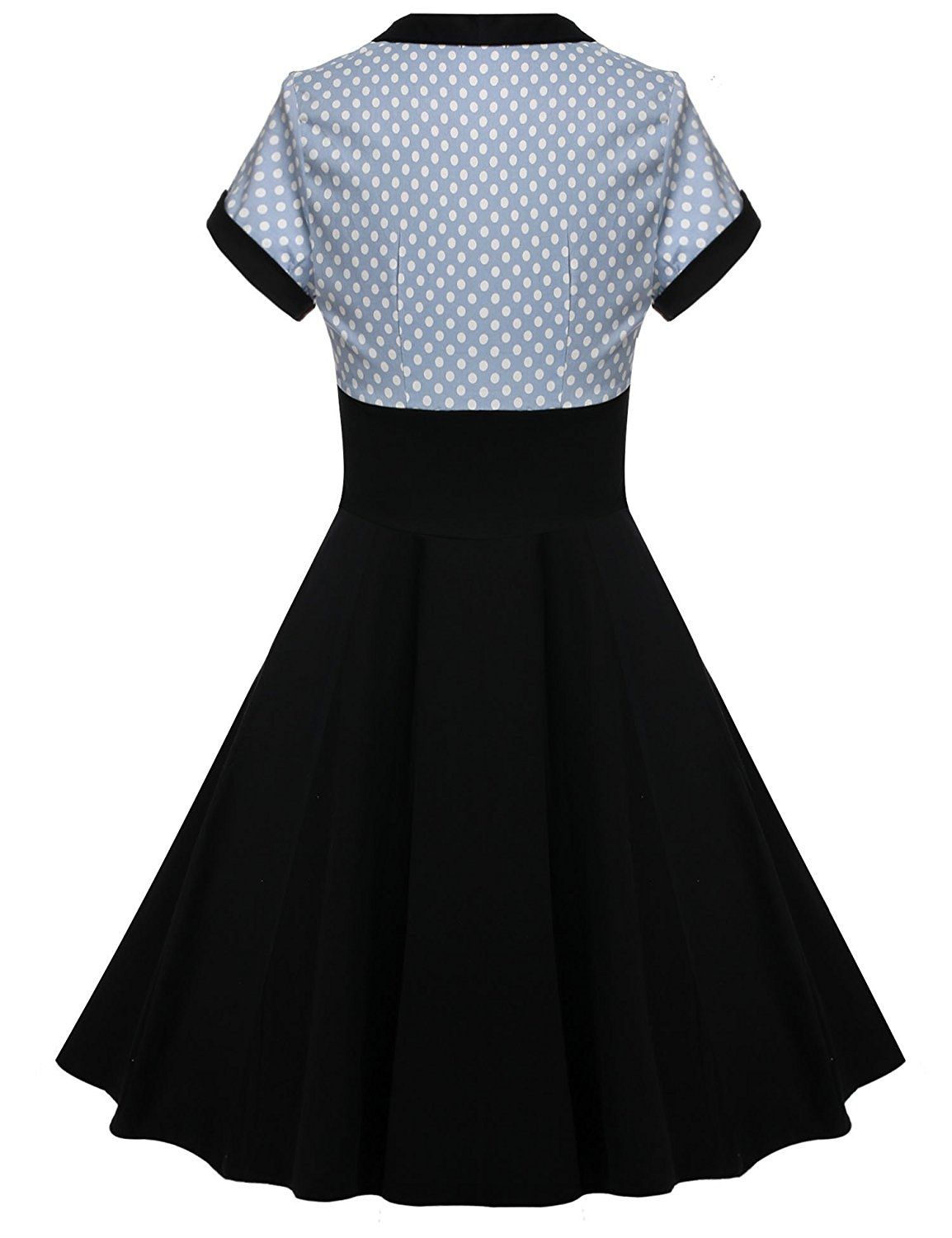Acevog womenus short sleeve polka dots cotton vintage tea dress