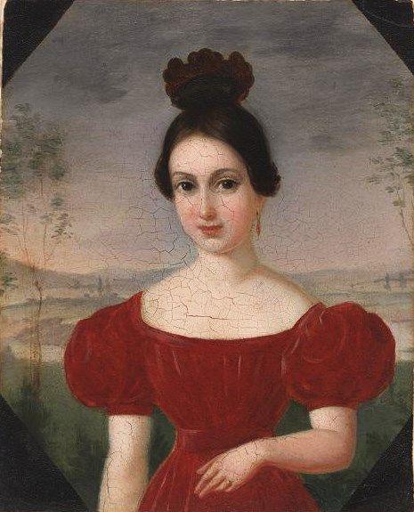 """Franz """"François"""" Fleischbein (German-born, American pairnter 1801-1868) Portrait of Marie Louis Tetu 1833-36"""