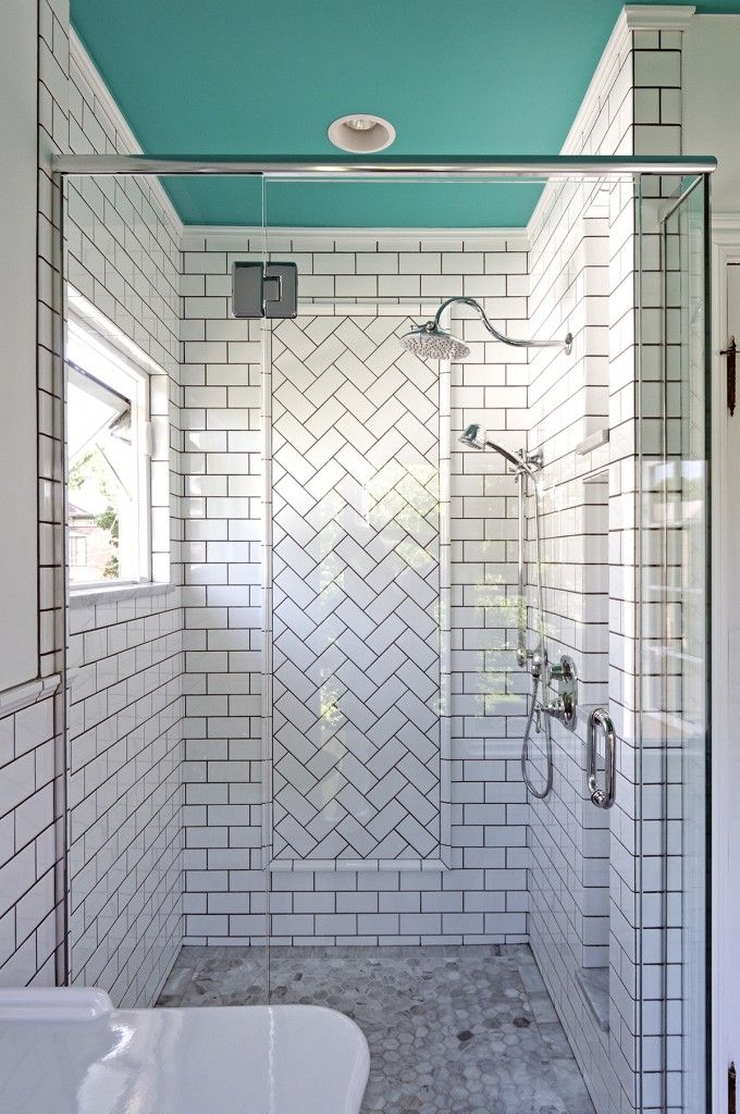 A bathroom remodel well worth the wait herringbone for Small bathroom herringbone tile