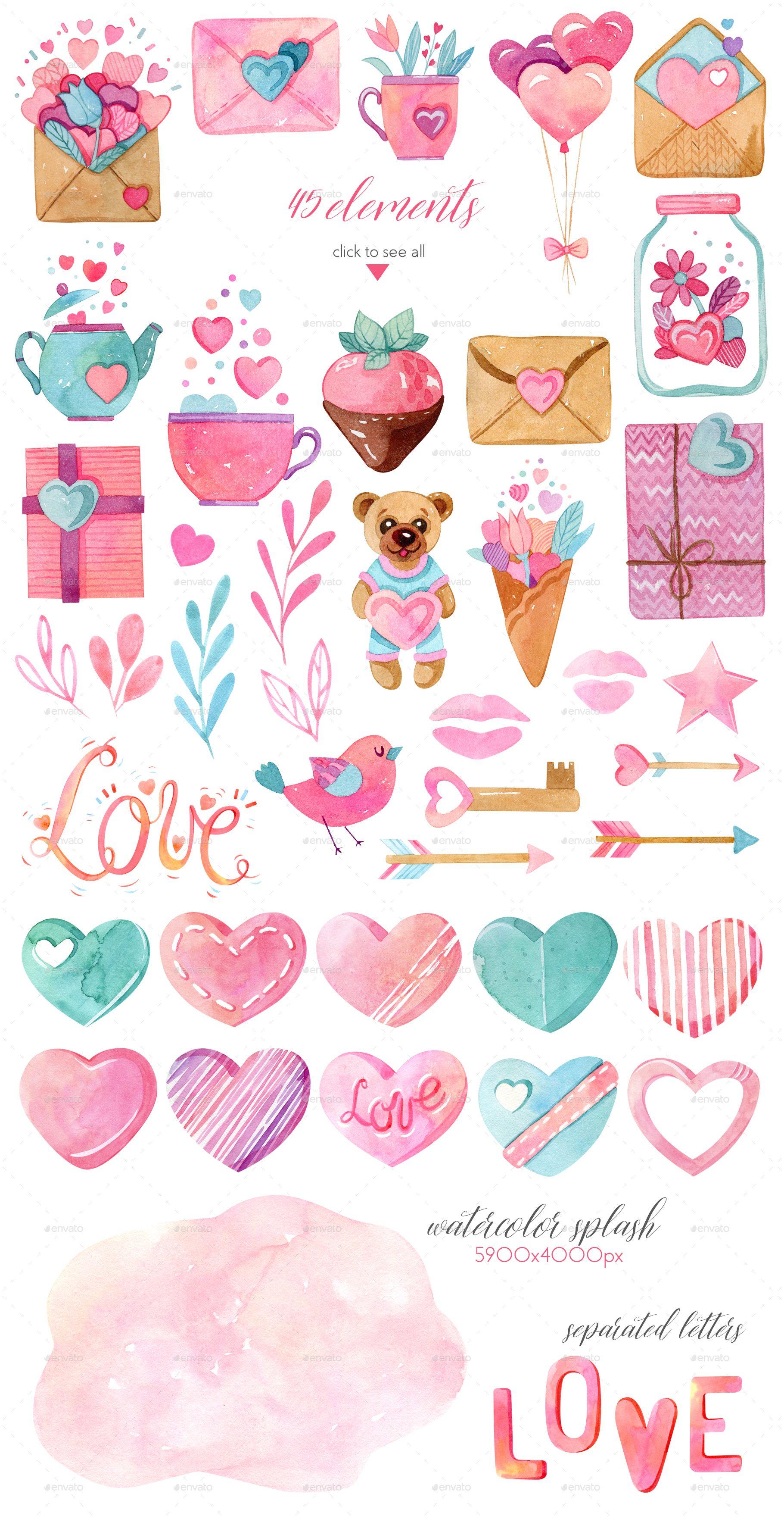aquarell valentinstag sammlung #valentines, #watercolor, #