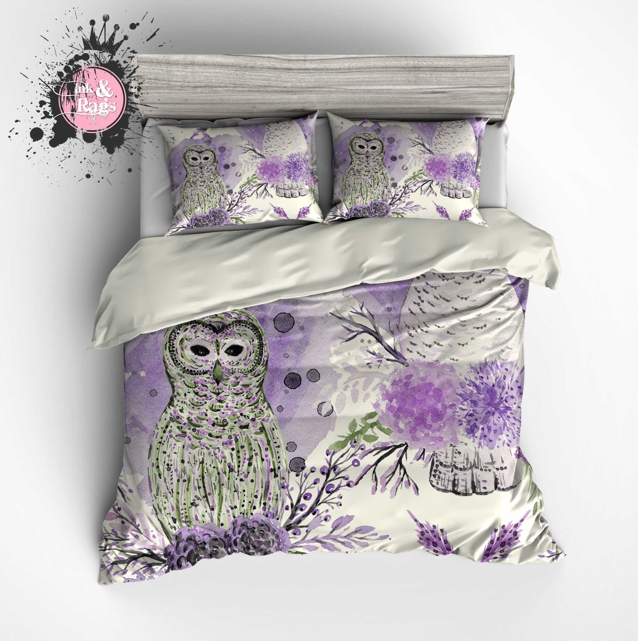 Purple And Green Watercolor Owl Bedding Cream Duvet Bedding Sets