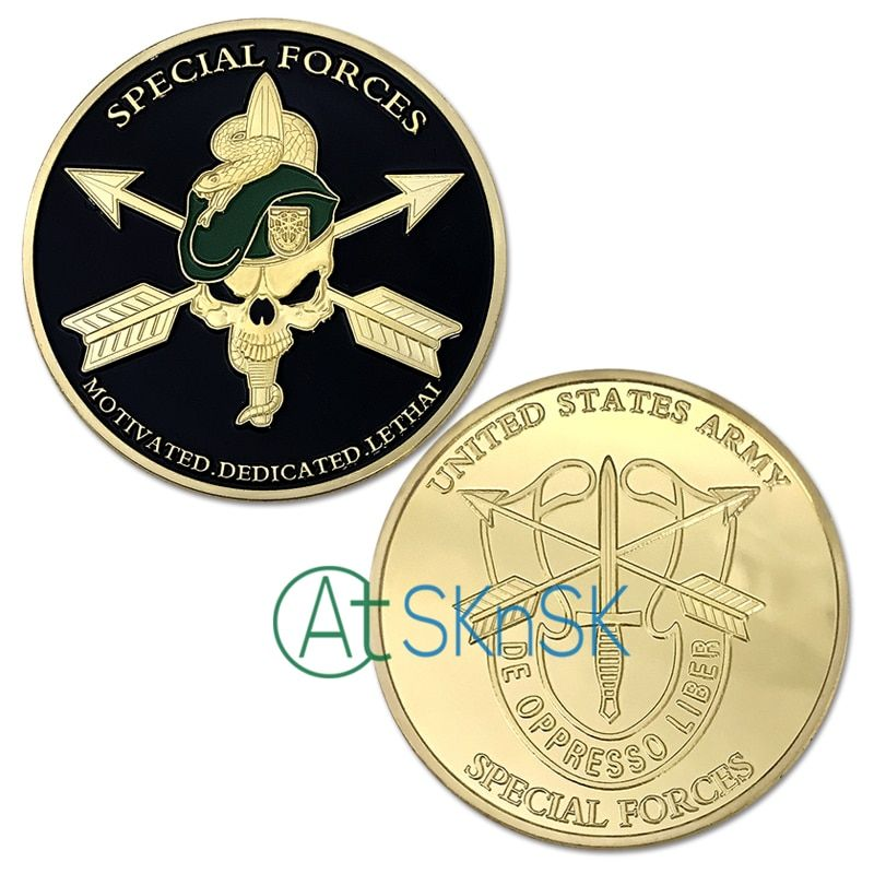 72898899c94c0  32834467700 Aliexpress Factory wholesale latest skull crafts Green Beret  metal gold coin collectible Special Forces Unite States Army challenge  coins on ...