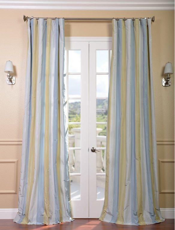 Catalina Faux Silk Stripe Drapes Curtains Drapes Curtains