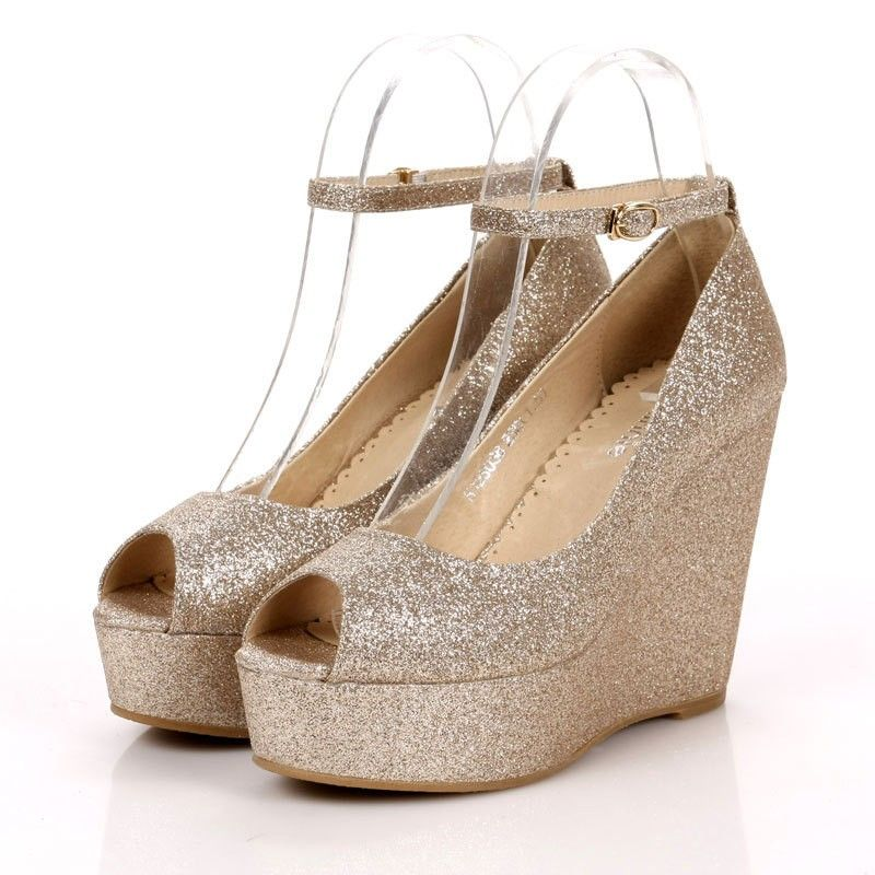 14 Comfortable Champagne Wedding Shoes Wedges Cheap | Prom ...