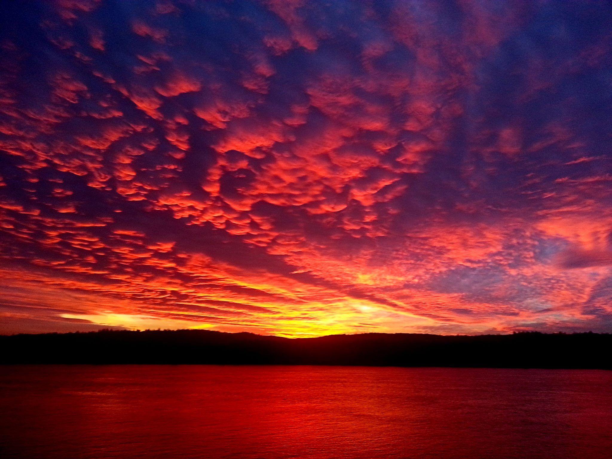 December firery sunset over longview washington state