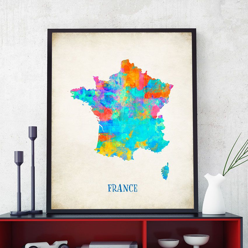 Map Of France Poster.France Map Wall Art French Map Print Map Of France Poster