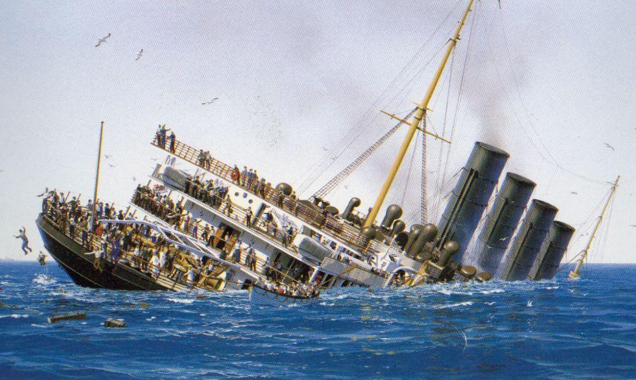 RMS Lusitania going down. | Lusitania | Pinterest ...