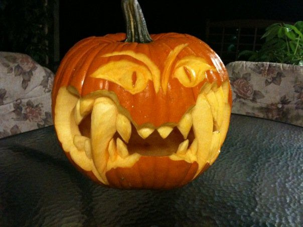pumpkin #3 carved by my husband #pumpkincarvingstencils