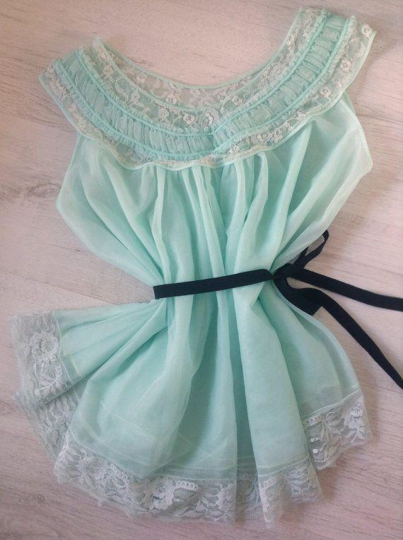 Aqua green vintage lingerie camisole, sleeping dress 1970s, vintage underwear, vintage nightgown