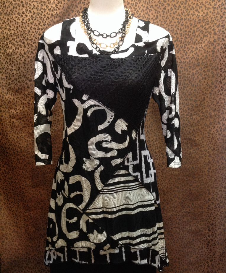 LIOR Luxe  - Black and white open shoulder tunic - $119