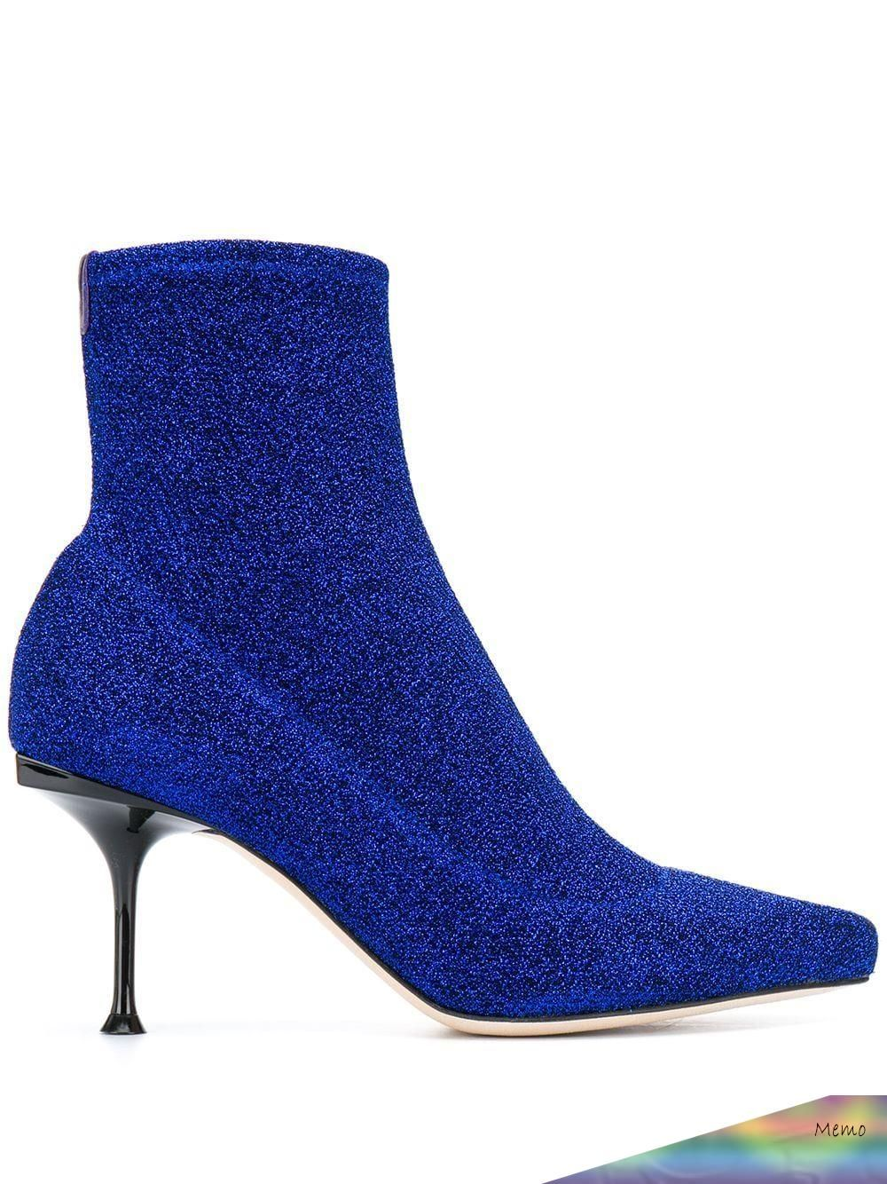 2020 - Royal blue leather sock boots