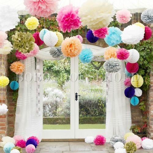 Fleur pompon papier boule  suspendre soie décoration déco mariage
