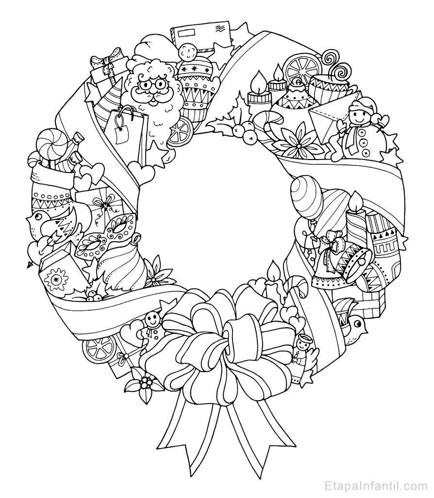 Dibujo navide o para colorear de corona de navidad - Dibujos navidenos para imprimir y colorear ...