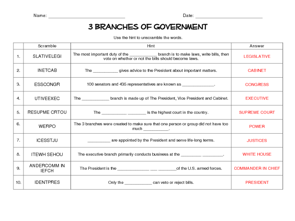 worksheet Judicial Branch Worksheet original great assessment for the end of this framwork ed tech 3 branches government word scramble grade worksheet