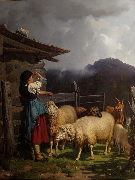 Wilhelm Frey, Sennerin in front of her hut with returning sheep and goats, 1872