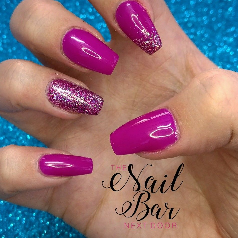 Neon fuchsia acrylic nails with holographic glitter | My work ...