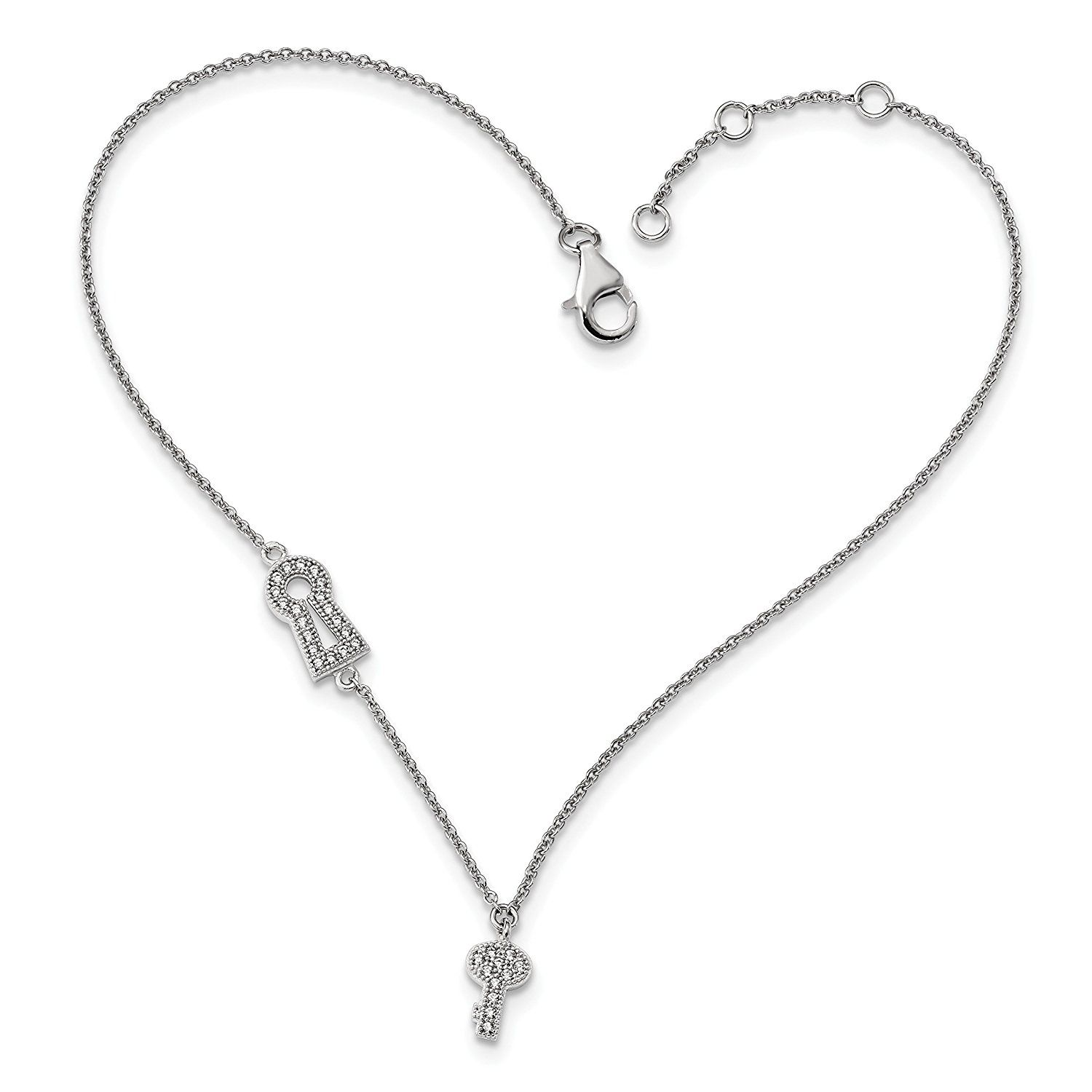 cubic romantic products link details chain sterling zirconia silver product anklets clr ca clear anklet heart
