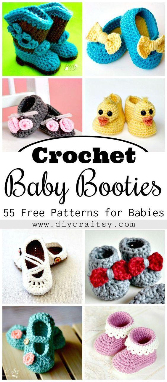 Crochet Baby Booties - 55 Free Crochet Patterns for Babies   Tejido