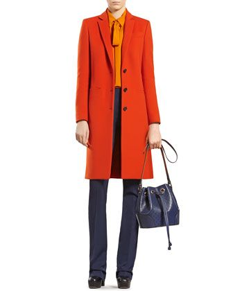 Love this color combo! Wool Coat, Silk Shirt & Silk-Wool Flare Pants by Gucci at Neiman Marcus.