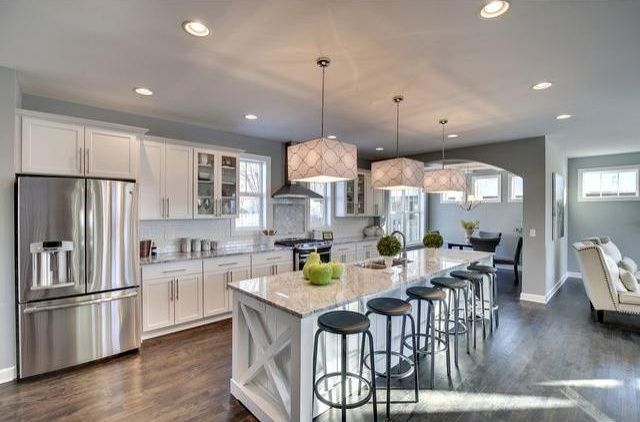 Charming Transitional Kitchen With Glass Panel, Breakfast Bar, Flush, Kitchen Island,  One  Gallery