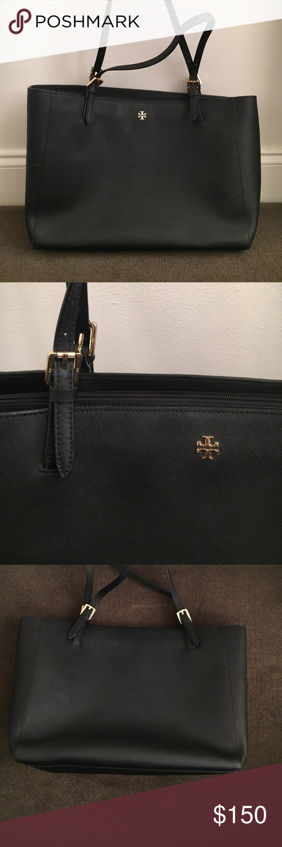 Black Tory Burch York Tote Large Great Condition But Does Have Scratches Across Bag See Pictures These Do Not Wash Off And I Tried To Color