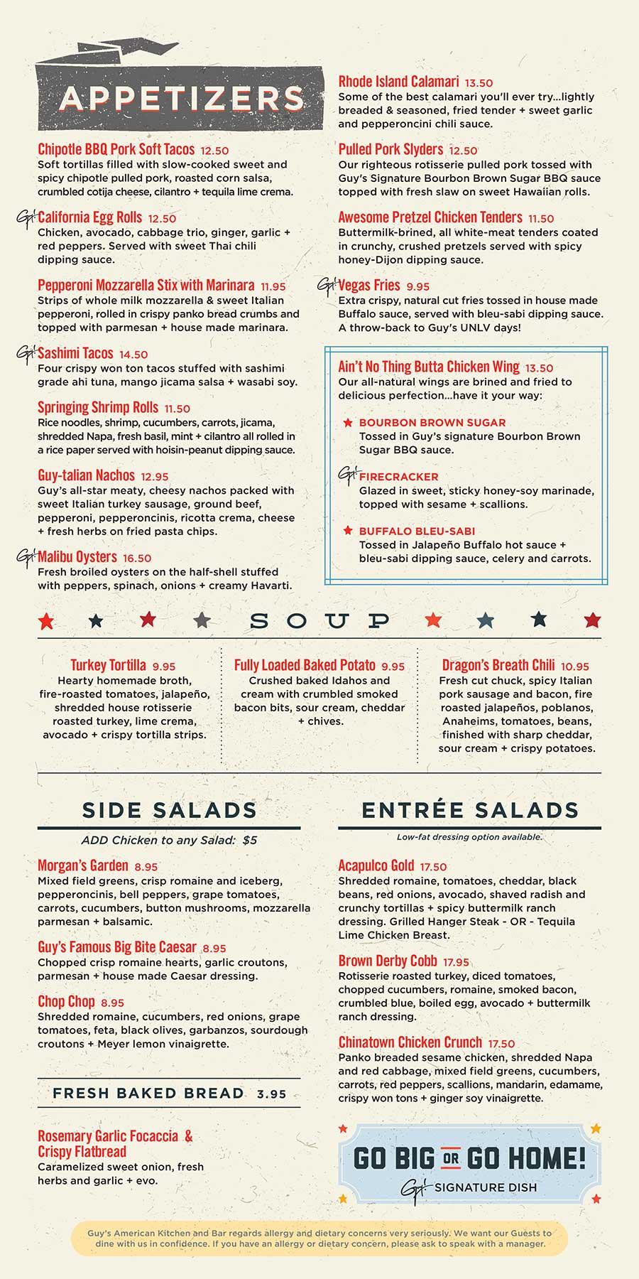 Menu Guy S American Kitchen Bar A Guy Fieri Restaurant