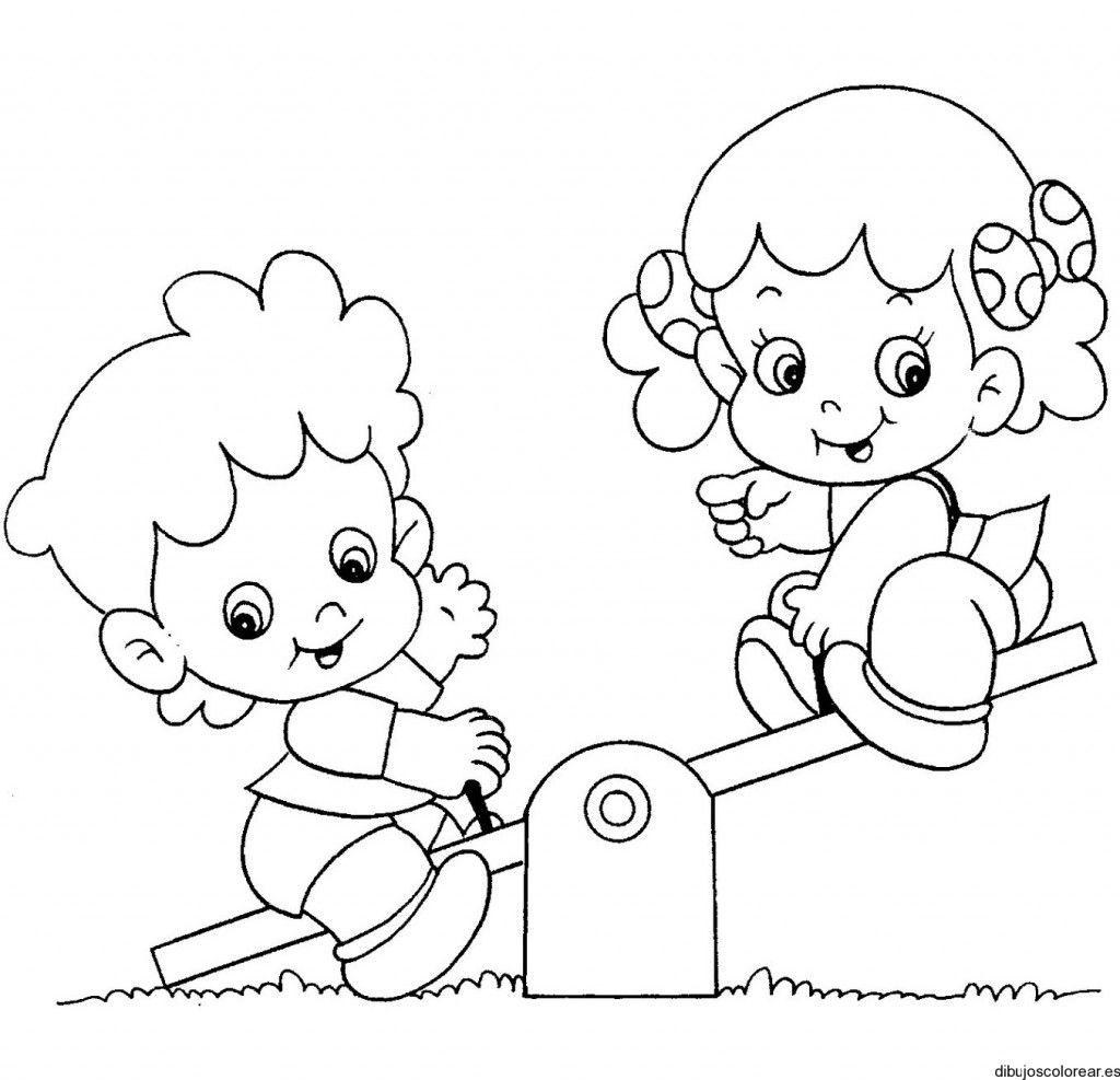 Dibujo De Una Nina Y Un Nino En El Parque Dibujos Para Ninos Amistad Dibujos Nino Jugando Dibujo