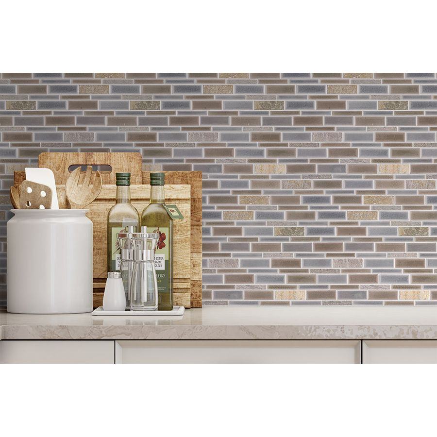 Allen roth glazed wall chocolate ceramic bullnose trim common 1 - Shop Allen Roth River Bank Light Blue Glazed Porcelain Mosaic Linear Indoor Outdoor Wall