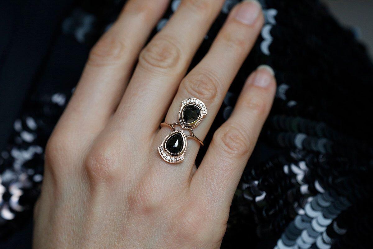 Cocktail Ring, Rose Gold Black Diamond Ring, Pear Diamond Ring, Black Pear Ring, Double Diamond Ring, 14k rose gold by MinimalVS on Etsy https://www.etsy.com/listing/219402101/cocktail-ring-rose-gold-black-diamond