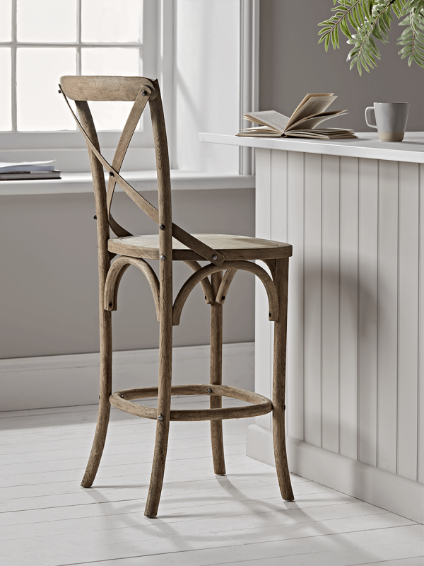 Weathered Oak Cross Back Counter Stool Counter Stools Wooden